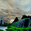 Early Morning Ocean Lighthouse Scene by John Junek