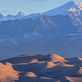 Early Morning Sand Dunes And Snow Covered Peaks by James BO Insogna
