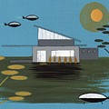 Early Painting Futuristic House by Donna Mibus