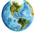 Earth America Watercolor Poster by Joanna Szmerdt