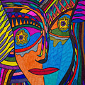 Earth And Aqua Mask - Abstract Face by Marie Jamieson