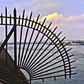 East River View Through The Spokes by Madeline Ellis