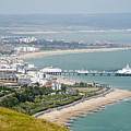 Eastbourne From Beachy Head Sussex Uk by Donald Davis