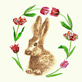 Easter Background With Rabbit by Natalia Piacheva