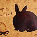 Easter Golden Egg And Chocolate Bunny by Georgeta  Blanaru