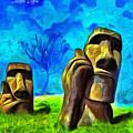Easter Island - Van Gogh Style - Pa by Leonardo Digenio