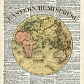 Eastern Hemisphere Earth Map Over Dictionary Page by Anna W