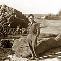 Ed F. Ricketts At Beach At Hopkins Marine Station Photo By Ed Ricketts Jr. 1946 by California Views Archives Mr Pat Hathaway Archives