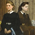 Edgar Degas - The Bellelli Sisters Giovanna And Giuliana Bellelli by Edgar Dega