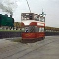 Edinburgh Tram With Goods Train by Peter Gartner