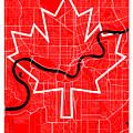 Edmonton Street Map - Edmonton Canada Road Map Art On Canada Flag Symbols by Jurq Studio