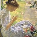 Edmund Charles Tarbell - Mercie Cutting Flowers 1912 by Edmund Charles Tarbell