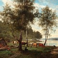 Edvard Bergh, Summer Landscape With Cattle And Birches. by Edvard Bergh