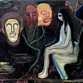 Edvard Munch - Girl And Three Mens Heads 1895-98 by Edvard Munch