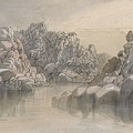 Edward Lear - River Pass Between Semi Barren Rock Cliffs by Edward Lear