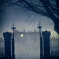 Eerie Mansion In Fog At Night by Lee Avison