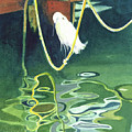 Egret On A Rope by Marie Garafano