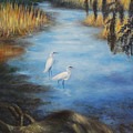 Egrets On The Ashley At Charles Towne Landing by Pamela Poole