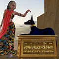 Egyptian Woman And Anubis Statue by Corey Ford