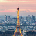 Eiffel Tower And La Defense At Dusk, Paris, France by Matteo Colombo