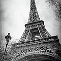 Eiffel Tower And Lamp Post Bw by Joan Carroll