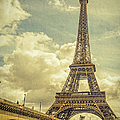 Eiffel Tower And Pont D'lena Vintage by Joan Carroll