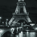 Eiffel Tower At Night Lit Up In Black And White by Alissa Beth Photography
