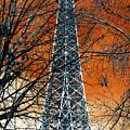 Eiffel Tower Behind The Trees Pop Art by John Rizzuto