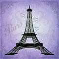 Eiffel Tower Collage Purple by Jim And Emily Bush