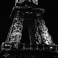 Eiffel Tower Illuminated At Night First And Second Decks Paris France Black And White by Shawn O'Brien
