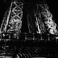 Eiffel Tower Illuminated At Night First Floor Deck Paris France Black And White by Shawn O'Brien
