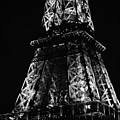 Eiffel Tower Illuminated Midsection At Night Paris France Black And White by Shawn O'Brien