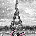 Eiffel Tower In The Rain With Pink Scooter Of Paris. Black And W by Cranach Studio