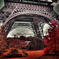 Eiffel Tower Surreal Photo Red Trees Paris France by Sandra Rugina