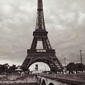 Eiffel Tower With Bridge In Sepia by Carol Groenen