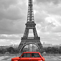 Eiffel Tower With Car. Black And White Photo With Red Element. by Cranach Studio