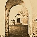 El Morro Fort Barracks Arched Doorways Vertical San Juan Puerto Rico Prints Rustic by Shawn O'Brien