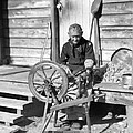 Elderly Woman Spinning Wool, C.1920s by H. Armstrong Roberts/ClassicStock