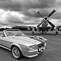 Eleanor Mustang With P51 Black And White by Gill Billington