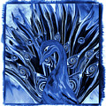 Electric Blues Peacock by Abstract Angel Artist Stephen K