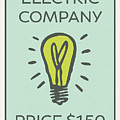 Electric Company Vintage Monopoly Board Game Theme Card by Design Turnpike