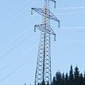 Electric Pylon On Blue Sky by Ilan Rosen