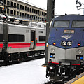 Electric Trains At Union Station by Mike Martin