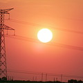 Electrical Pylon At Silhouetted At Sunset by Sami Sarkis