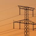 Electricity Pylon At Sunset  by Jaroslav Frank