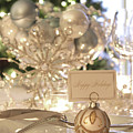 Elegant Holiday Dinner Table With Focus On Place Card by Sandra Cunningham