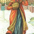 Elegant Lady In Snow, Christmas Card by English School