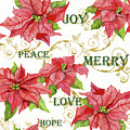 Elegant Poinsettia Floral Christmas Love Joy Peace Merry Hope Typography Swirl by Audrey Jeanne Roberts