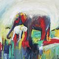 Elephant Baby And Mother by Manjula Karunathilaka