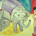 Elephant Betty And Clown by Hillary McAllister